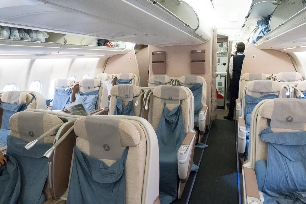 ターキッシュエアラインズTK046便ビジネスクラス席全景