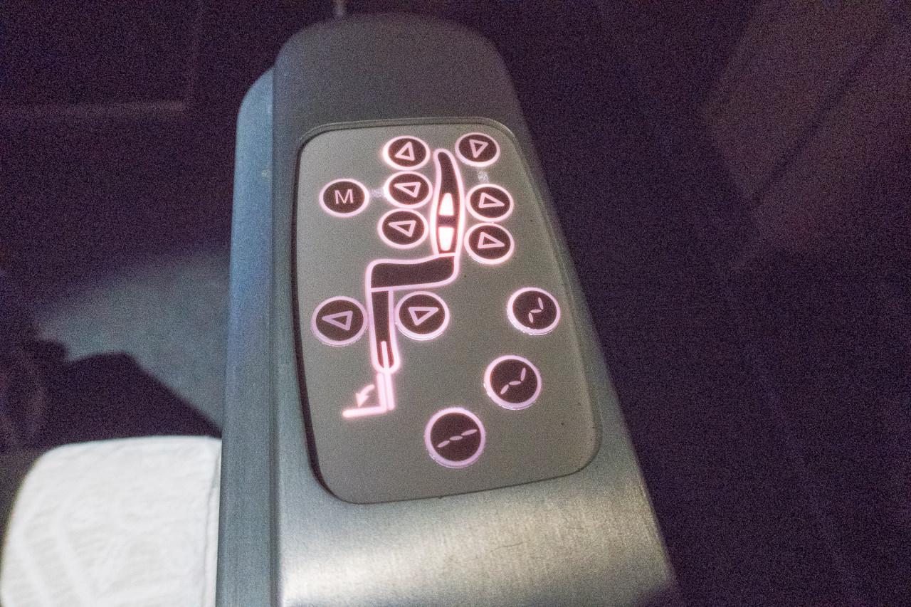 ターキッシュエアラインズのリクライニングコントローラー